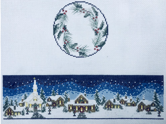 Funda Scully needlepoint canvas for a hinged box with a Christmas winter village scene in the snow and holly leaves and berries on the lid