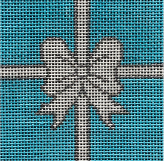 Vallerie Needlepoint Gallery square needlepoint canvas of a white and silver bow on the iconic Tiffany and Co turquoise background sized for self-finishing boxes (insert)