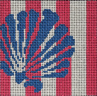 Two Sisters preppy square needlepoint canvas of a scallop shell on pink and white stripes sized for self-finishing (insert)