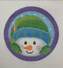 Pepperberry needlepoint canvas of a whimsical snowman peeking his head into the frame of the circular canvas with his mittens on the edge