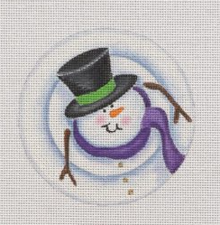 Pepperberry needlepoint canvas of a whimsical snowman wearing a scarf and a top hat viewed from above (concentric circles)