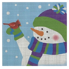 Pepperberry square needlepoint canvas of a whimsical snowman wearing hat scarf and mittens with rosy cheeks holding a cardinal with snow in the background