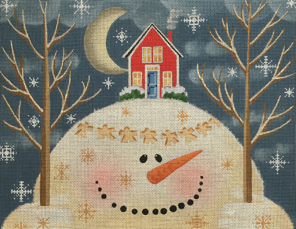 Vallerie Needlepoint Gallery needlepoint canvas of a snowman holding two trees with a house on his head and snow angels