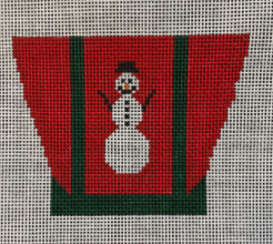 Vallerie Needlepoint Gallery Christmas and winter needlepoint canvas of a tiny canvas tote bag in red with green trim and a snowman