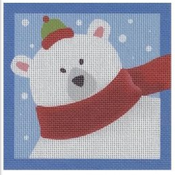 Pepperberry square needlepoint canvas of a polar bear wearing a scarf and a tiny hat in the snow