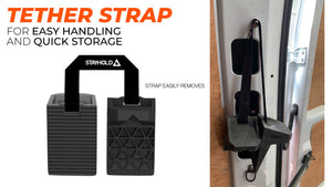 Stayhold CARGO WEDGE 2-PACK + TETHER. (Solid Rubber Cargo Chocks) hung up using tether strap