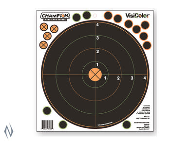 CHAMPION TARGET VISICOLOR ADHESIVE SIGHT IN 100YD 5 PACK + PATCHES