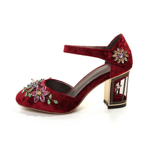 Vintage Handmade Mary Jane Pumps Heels with Rhinestone Decoration