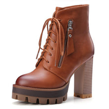 Load image into Gallery viewer, Peach Platform Heeled Combat Boots