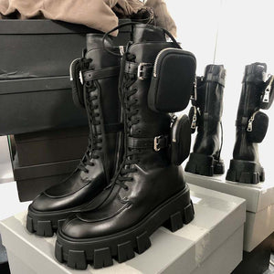 Rayne Genuine Leather Combat Boots With Pocket