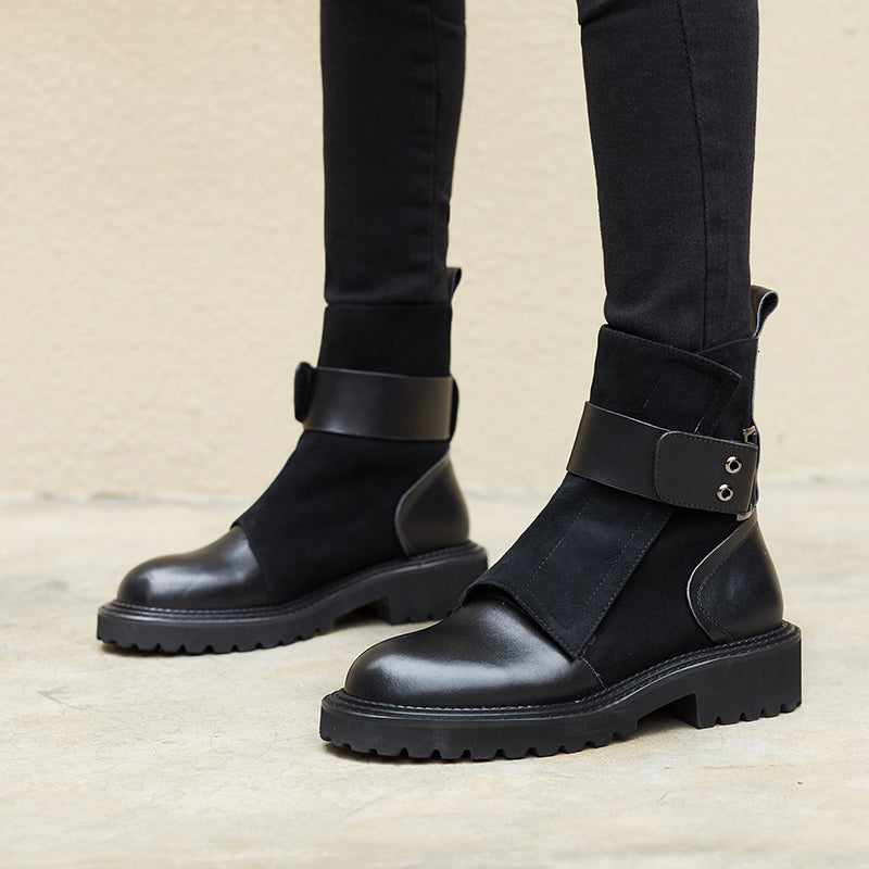 Wade Genuine Leather Strappy Boots