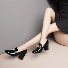 Load image into Gallery viewer, Elegant Square Toe Chunky Heels Pumps