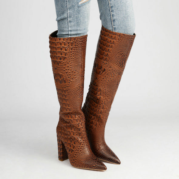 Milan Crocodile Print Knee High Boots