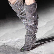 Load image into Gallery viewer, Luxury Handmade Crystal Cone Heel Slouch Boots-fyzoeshoe