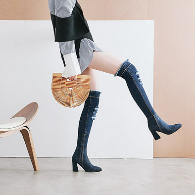 Viola Denim Chunky Heel over the Knee Boots