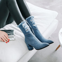 Load image into Gallery viewer, Unique Handmade Denim Middle Calf Boots