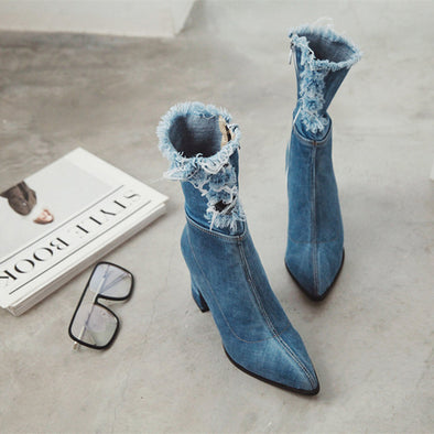 Unique Handmade Denim Middle Calf Boots