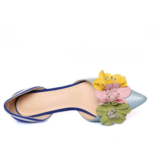 Handmade Dorsey Kitten Heels with Flower Decoration
