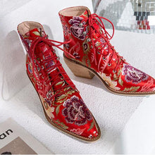 Load image into Gallery viewer, Mya Handmade Retro Embroidery Booties