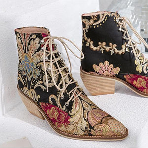 Mya Handmade Retro Embroidery Booties