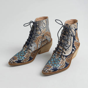 Madilyn Handmade Retro Embroidery Booties