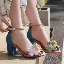 Load image into Gallery viewer, Bessi Floral Ankle Strap Sandals