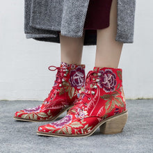 Load image into Gallery viewer, Handmade Retro Embroidery Floral Booties-fyzoeshoe
