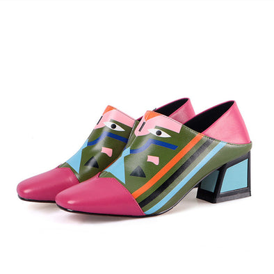 Alianna Handmade Print Genuine Leather Slip on Pumps