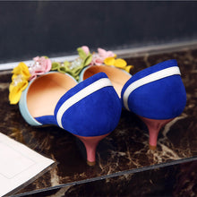 Load image into Gallery viewer, Handmade Dorsey Kitten Heels with Flower Decoration