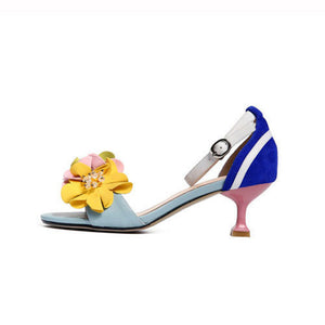 Handmade Ankle Strap Heeled Sandals with Flower Decoration