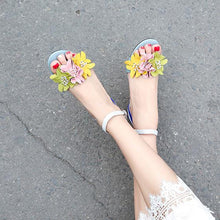 Load image into Gallery viewer, Handmade Ankle Strap Heeled Sandals with Flower Decoration