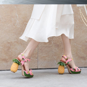 Marion Novelty Heel Fruit Print Platform Sandals