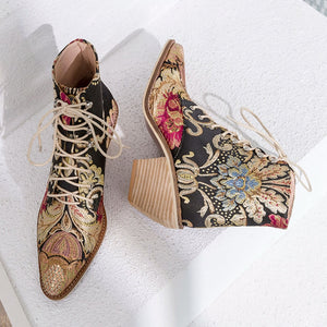 Handmade Retro Embroidery Floral Booties-fyzoeshoe