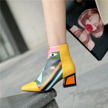 Load image into Gallery viewer, Floral Print Handmade Genuine Leather Ankle Booties