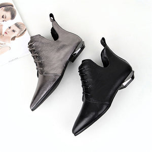 Margo Lace up Ankle Boots with Cut Detail