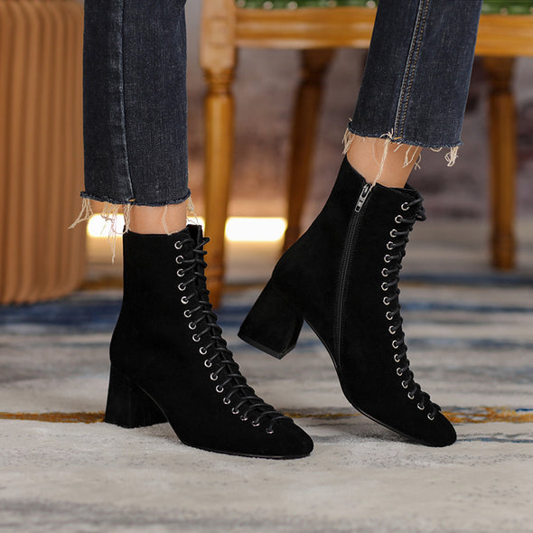 Rocca Vintage Lace up Booties