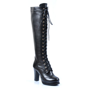 Vintage Handmade Lace up Knee High Boots-fyzoeshoe