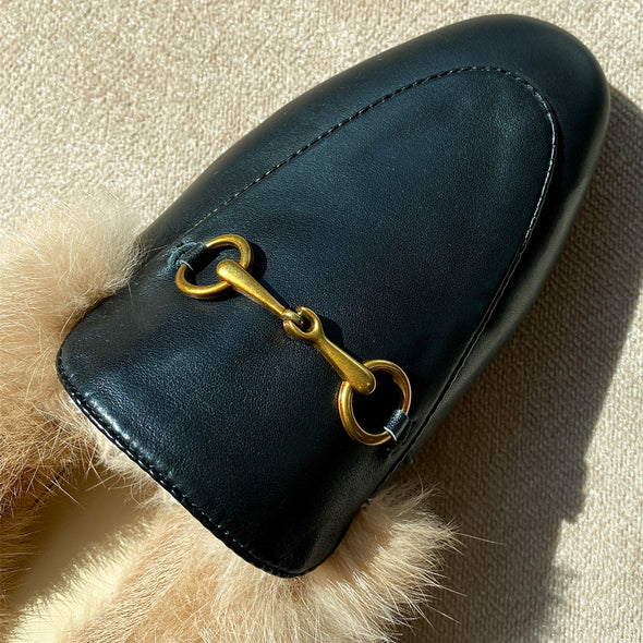Veronica Leather Fur Winter Mules