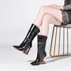 Bella Genuine Leather Mid Calf Boots