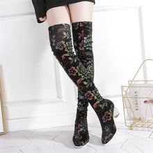 Load image into Gallery viewer, Melany Lucky Lotus Print Stretch Boots