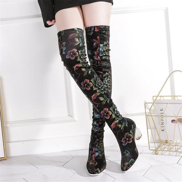 Melany Lucky Lotus Print Stretch Boots