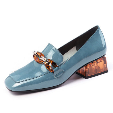 Eldora Low Heel Loafers with Meta Decoration