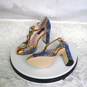 Iaksy Luxury Fancy T Strap Heels
