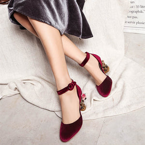 Novelty Ankle Strap Pumps with Rose Cage Heels