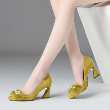 Load image into Gallery viewer, Elegant Square Toe Pumps Heels with Pearl-fyzoeshoe