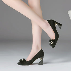Elegant Square Toe Pumps Heels with Pearl-fyzoeshoe