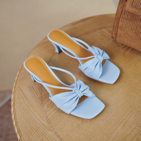 Ariah Open Toe Low Heels Mules Slides Sandals