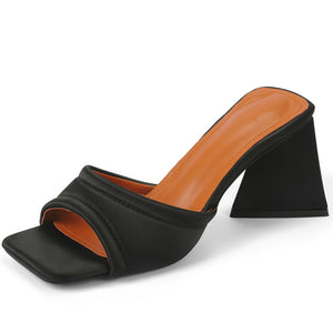 Poise Genuine Leather Open Toe Mules Sandals