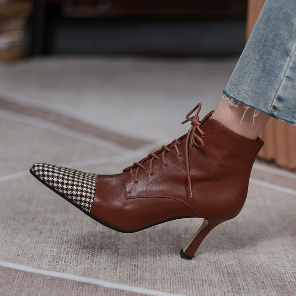 Brittany Vintage Lace up Anke Booties