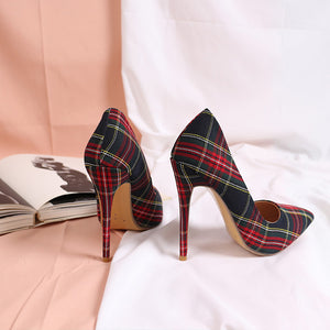 Trendy Plaid Pointed Toe Stilettos High Heels(Plus Size)